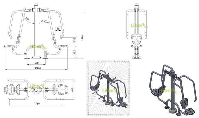 Outdoor Exercise Equipment Size Drawing